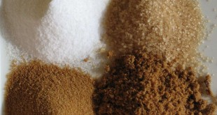 Clockwise from top left: White refined sugar, unrefined sugar, brown sugar, unprocessed cane sugar. (Courtesy: Wikimedia Commons)